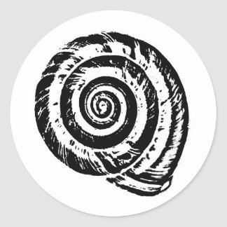 Spiral Seashell Block Print, Black and White Classic Round Sticker