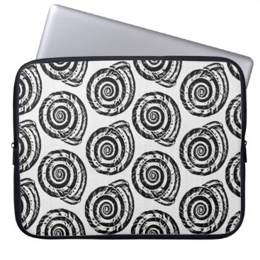 Beach Themed Spiral Seashell Block Print, Black and White Computer Sleeve