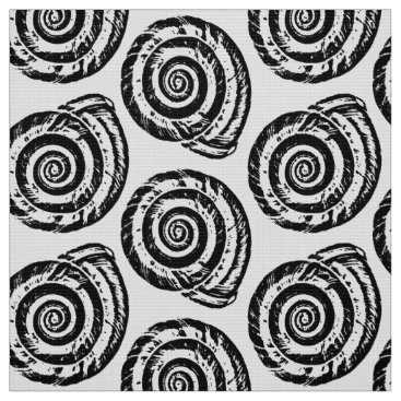 Beach Themed Spiral Seashell Block Print, Black and White Fabric
