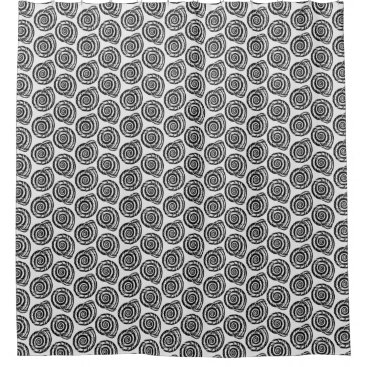 Beach Themed Spiral Seashell Block Print, Black and White Shower Curtain