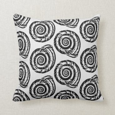 Beach Themed Spiral Seashell Block Print, Black and White Throw Pillow