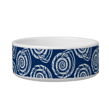 Beach Themed Spiral Seashell Block Print, Cobalt Blue and White Bowl