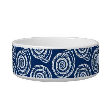 Beach Themed Spiral Seashell Block Print, Cobalt Blue and White Bowl