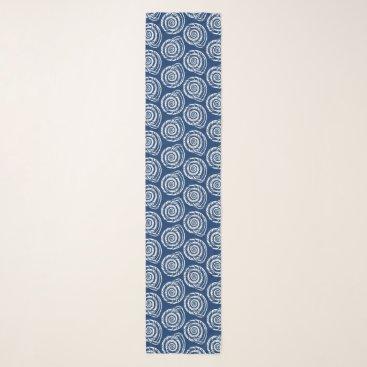 Beach Themed Spiral Seashell Block Print, Cobalt Blue and White Scarf