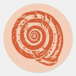 Spiral Seashell Block Print, Coral Orange Classic Round Sticker