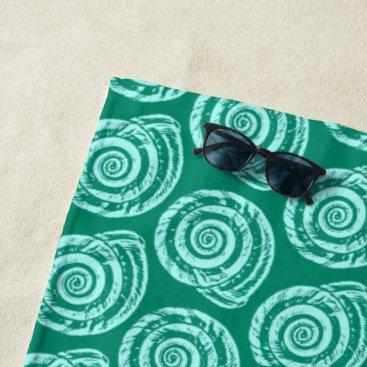 Beach Themed Spiral Seashell Block Print, Turquoise and Aqua Beach Towel