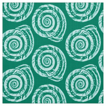 Beach Themed Spiral Seashell Block Print, Turquoise and Aqua Fabric