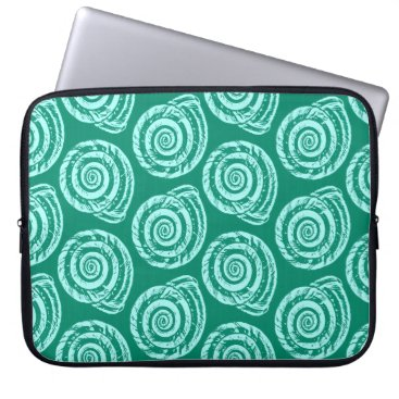 Beach Themed Spiral Seashell Block Print, Turquoise and Aqua Laptop Sleeve