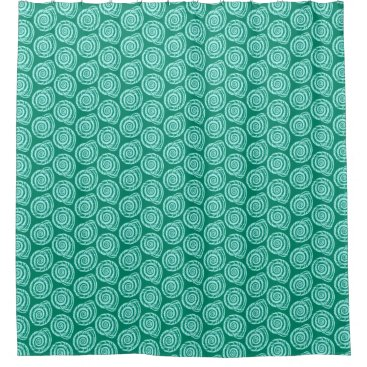 Beach Themed Spiral Seashell Block Print, Turquoise and Aqua Shower Curtain