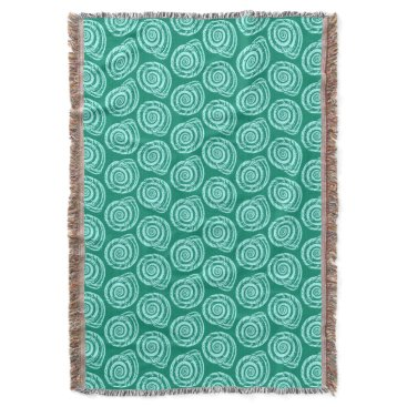 Beach Themed Spiral Seashell Block Print, Turquoise and Aqua Throw