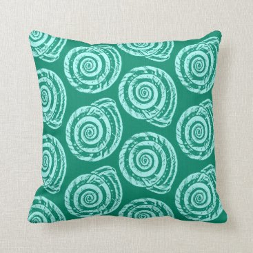 Beach Themed Spiral Seashell Block Print, Turquoise and Aqua Throw Pillow