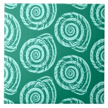Beach Themed Spiral Seashell Block Print, Turquoise and Aqua Tile