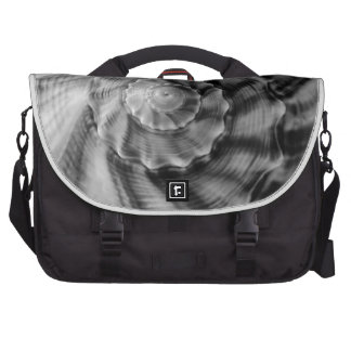 Spiral Shell, Black and White, Laptop Bags
