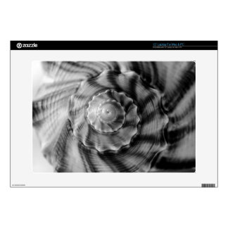 Spiral Shell, Black and White, Laptop Decal
