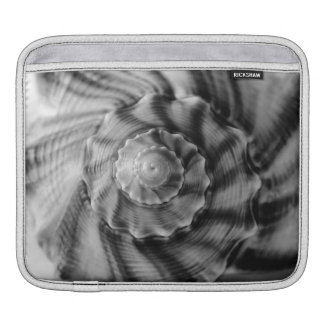 Spiral Shell, Black and White, Sleeve For iPads