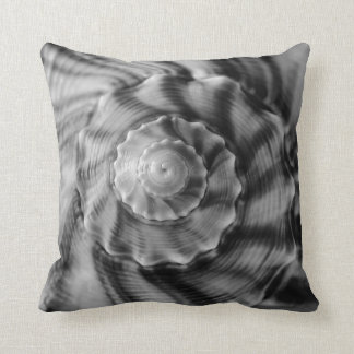 Spiral Shell, Black and White Throw Pillow