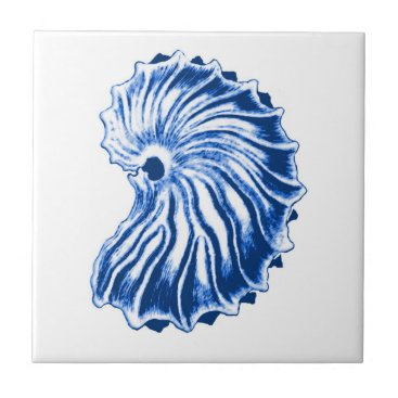 Beach Themed Spiral Shell, Indigo Blue and White Ceramic Tile