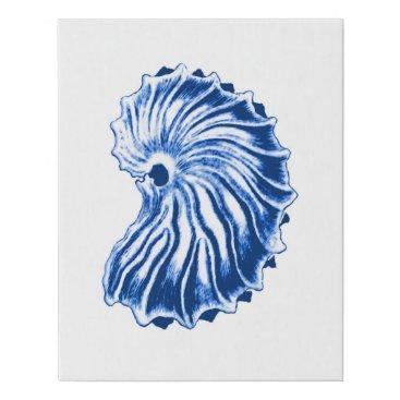 Beach Themed Spiral Shell, Indigo Blue and White Faux Canvas Print