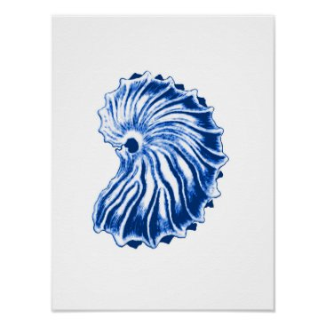 Beach Themed Spiral Shell, Indigo Blue and White Poster