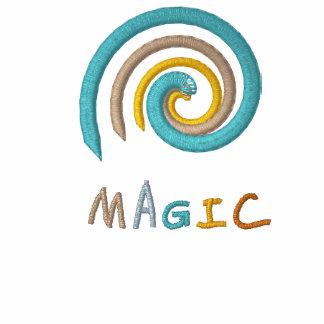 Spiral Shell Magic Embroidered Black Polo Shirt