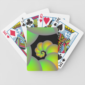 Spiral Spheres in Green and Yellow Playing Cards