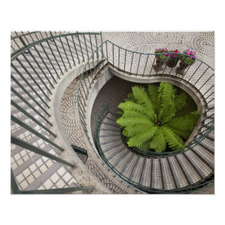Spiral staircase at the Embarcadero Center Poster