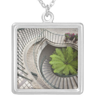 Spiral staircase at the Embarcadero Center Silver Plated Necklace
