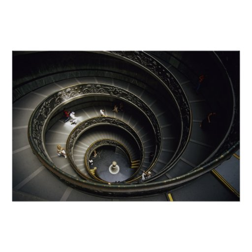Spiral Staircase at Vatican Museum, Italy Poster