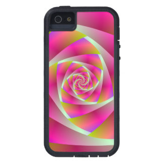 Spiral Steps in Pink and Orange iPhone SE/5/5s Case