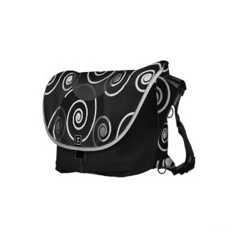 Spiral Swirl Black White Rickshaw Messenger Bag