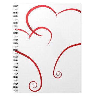 Spiral Swirl Valentines Linked Hearts Spiral Note Book