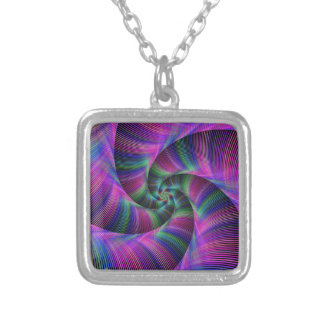 Spiral tentacles square pendant necklace