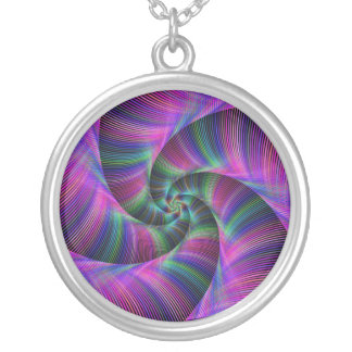 Spiral tentacles round pendant necklace