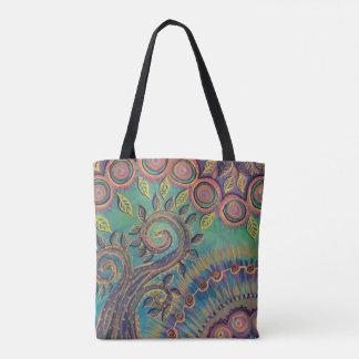 spiral tree and circles tote bag