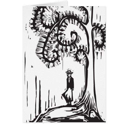 Spiral Tree Girl Greeting Cards