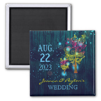 Spiral Trees Midnight Blue Wedding Save the Date Magnet