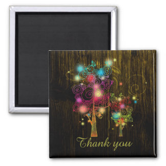 Spiral Trees on Wood Grain Fall Wedding Thank You Magnet