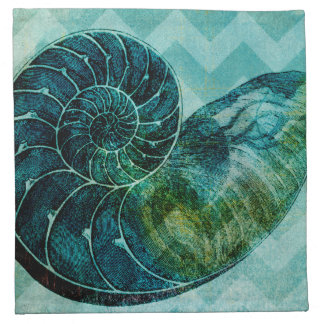 Spiral Turquoise Conch Shell Cloth Napkin