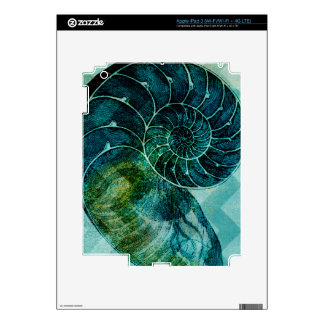 Spiral Turquoise Conch Shell Decals For iPad 3