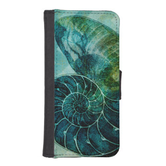 Spiral Turquoise Conch Shell iPhone SE/5/5s Wallet Case