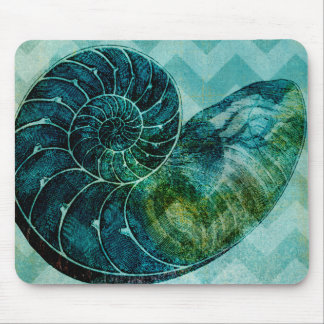 Spiral Turquoise Conch Shell Mouse Pad
