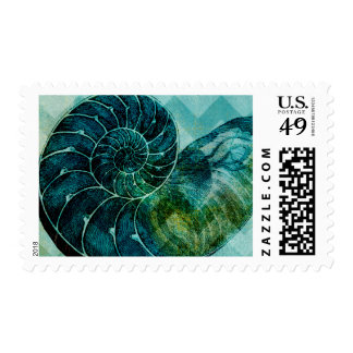 Spiral Turquoise Conch Shell Postage Stamp