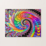 "Spiral Twist Fractal Art Jigsaw Puzzle<br><div class=""desc"">A fractal art spiral with purple,  pink,  red,  orange,  yellow,  green,  blue and black colors.</div>"