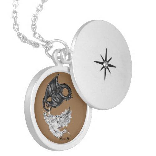 Spiral Unicorn Dragon Yin Yang Locket Necklace