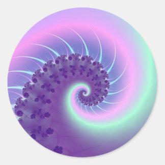 Spiral Wave Fractal Round Sticker