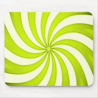 Spiral Yellow Candy Cane Swirl Stripes Pattern Mouse Pad