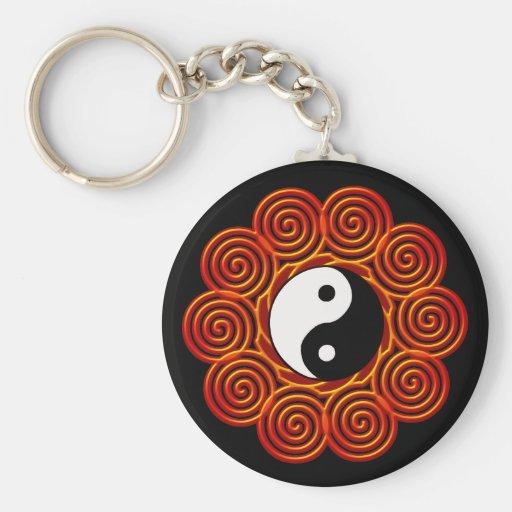 Spiral Yin Yang Sun Keychains