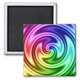 Spiraling Abstract Colorful Vortex 2 Inch Square Magnet