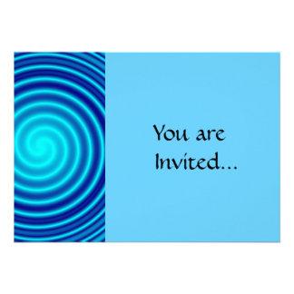 Spiraling Blue Vertigo Custom Invites