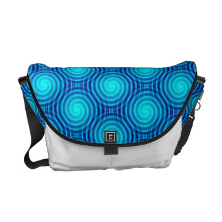 Spiraling Blue Vertigo Messenger Bag
